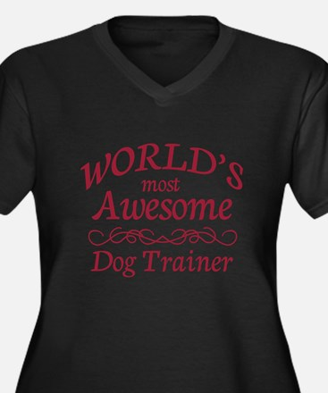 Awesome Dog Trainer Women's Plus Size V-Neck Dark