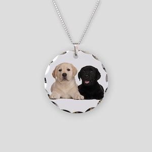 Labrador puppies Necklace Circle Charm