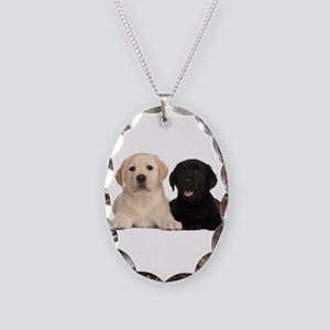 Labrador puppies Necklace Oval Charm