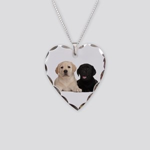 Labrador puppies Necklace Heart Charm