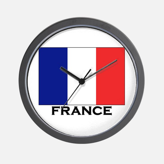 France Flag Stuff Wall Clock