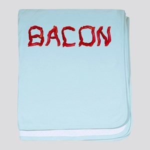 bacon spelled with bacon baby blanket