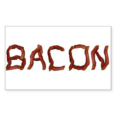 bacon spelled with bacon Sticker (Rectangle)