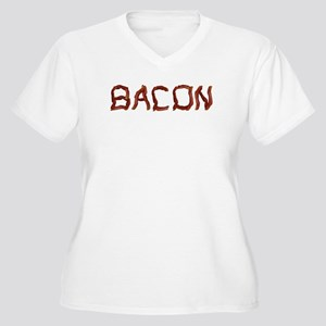 bacon spelled with bacon Women's Plus Size V-Neck