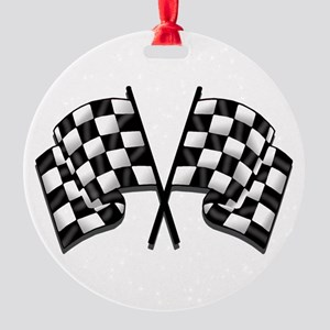 Chequered Flag Round Ornament