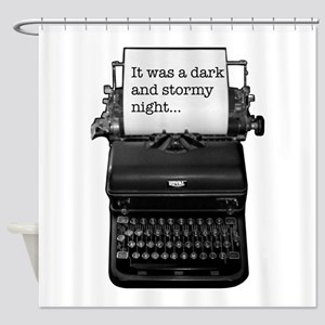 Dark and stormy night typeweriter Shower Curtain