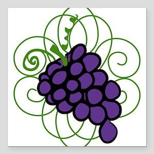 "Grapes Square Car Magnet 3"" x 3"""