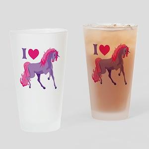 I Love Unicorns Drinking Glass