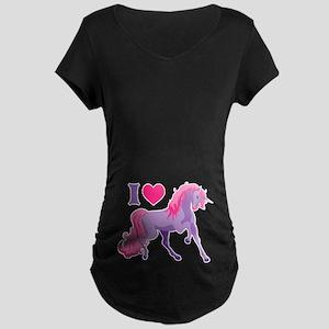 I Love Unicorns Maternity Dark T-Shirt