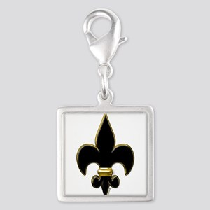Fleur De Lis Black and Gold Silver Square Charm