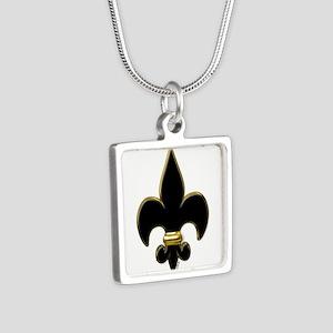 Fleur De Lis Black and Gold Silver Square Necklace