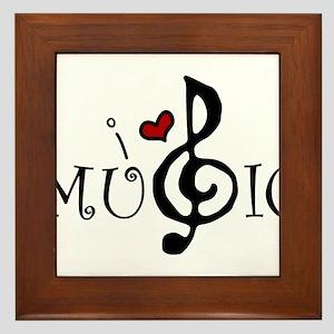 I Love Music Framed Tile