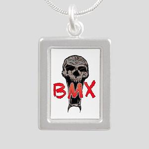 BMX skull Silver Portrait Necklace