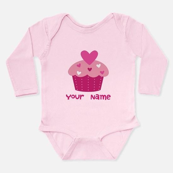 Personalized Cupcake Long Sleeve Infant Bodysuit