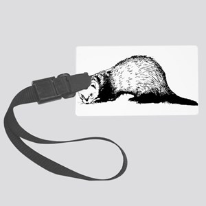 Hand Sketched Ferret Large Luggage Tag