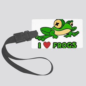 I Love Frogs Large Luggage Tag