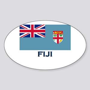 Fiji Flag Gear Oval Sticker