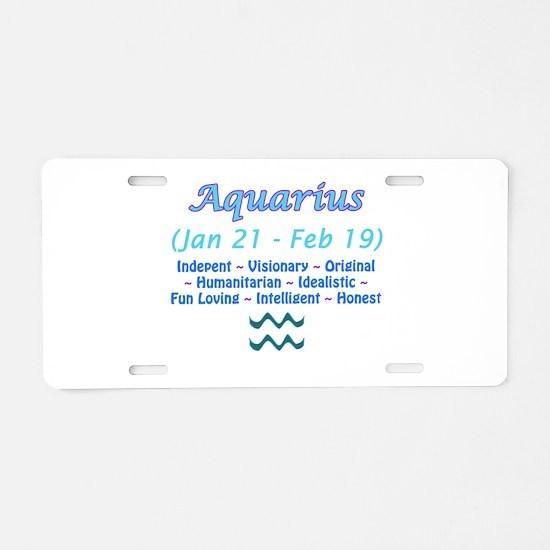 Aquarius Description Aluminum License Plate