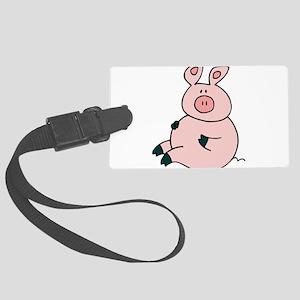 Cute Pig Large Luggage Tag
