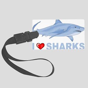 I Love Sharks Large Luggage Tag