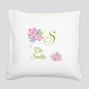 Pretty Flowers~ Custom Name Square Canvas Pillow