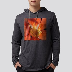 Orange and Gold Lily Tile Mens Hooded Shirt