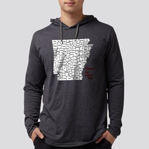 2-County Map - Black Mens Hooded Shirt