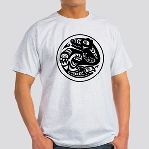 Bear & Fish Native American Design Light T-Shirt