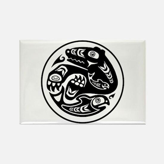 Bear & Fish Native American Design Rectangle Magne