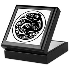 Bear & Fish Native American Design Keepsake Box