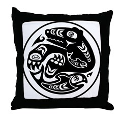 Bear & Fish Native American Design Throw Pillow