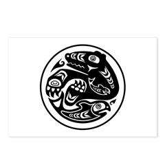 Bear & Fish Native American Design Postcards (Pack