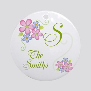 Pretty Flowers~ Custom Name Ornament (Round)
