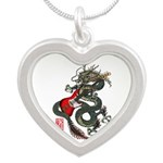 Dragon Bass 01 Silver Heart Necklace