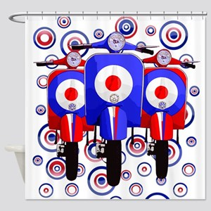 retro scooters on mod target design Shower Curtain