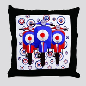 retro scooters on mod target design Throw Pillow