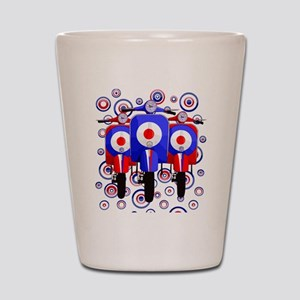 retro scooters on mod target design Shot Glass