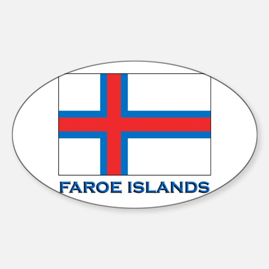 The Faroe Islands Flag Gear Oval Decal