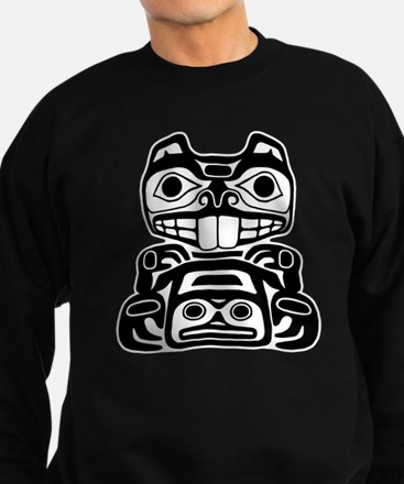 Beaver Native American Design Sweatshirt (dark)
