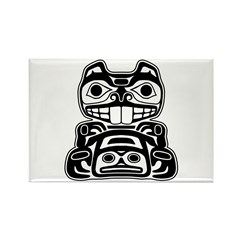 Beaver Native American Design Rectangle Magnet (10