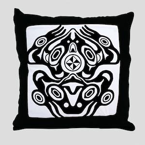 Frog Native American Design Throw Pillow