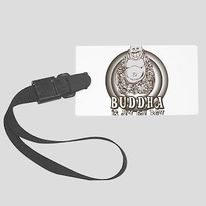 Retro Buddha Is My Homeboy Large Luggage Tag