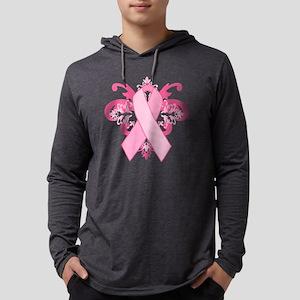 Breast Cancer Ribbon Mens Hooded Shirt