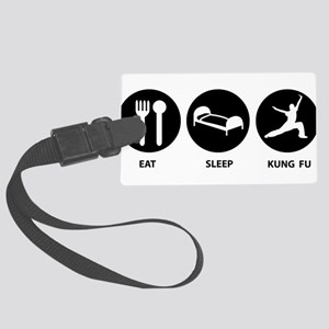 Eat Sleep Kung Fu Large Luggage Tag