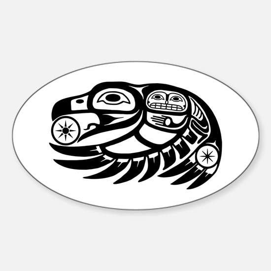 Raven Native American Design Sticker (Oval)