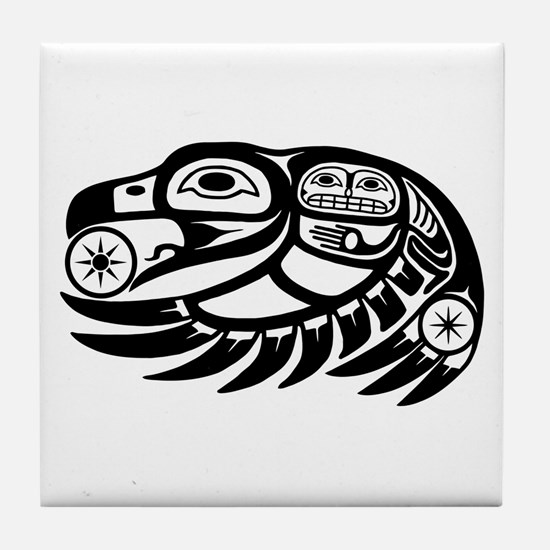 Raven Native American Design Tile Coaster