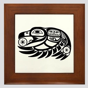 Raven Native American Design Framed Tile