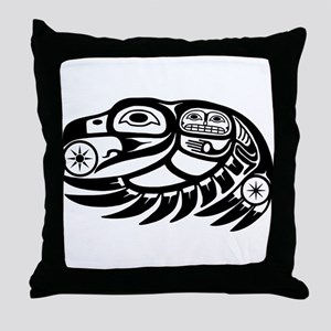 Raven Native American Design Throw Pillow