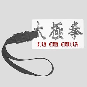 Vintage Tai Chi Calligraphy Large Luggage Tag