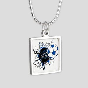 Soccer Ball Burst Silver Square Necklace